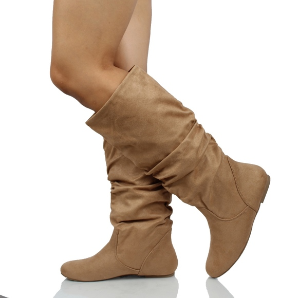 e361e40eb30 Natural Faux Suede Slouchy Knee High Flat Boot